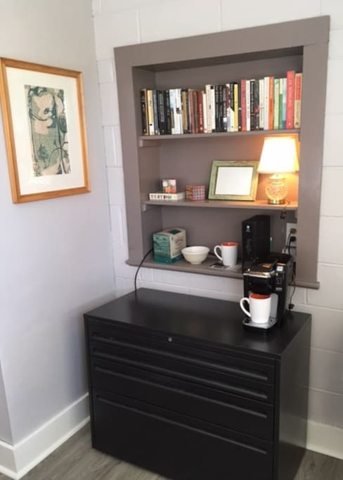 coffee bar + bookcase in bedroom