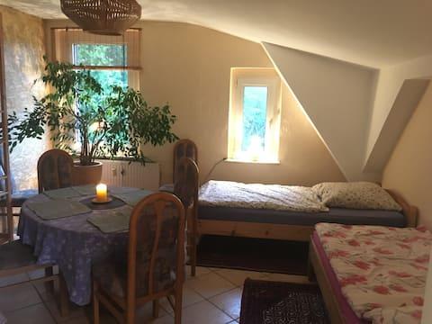 16qm-Zweibettzimmer OG Traveblick ländlich am Fluß