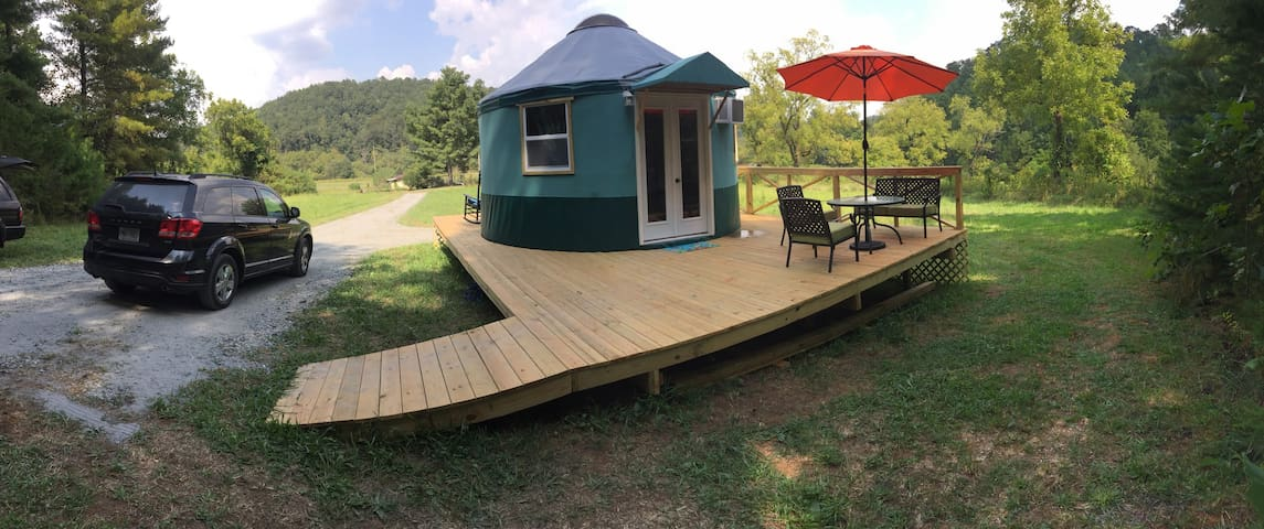 Private deck next to the forest