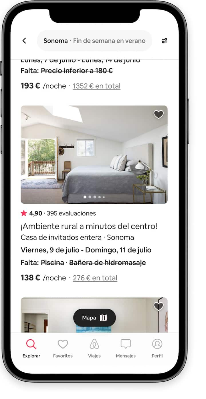 Anuncios de alojamientos que no cumplen con uno o dos filtros de búsqueda en la aplicación de Airbnb.