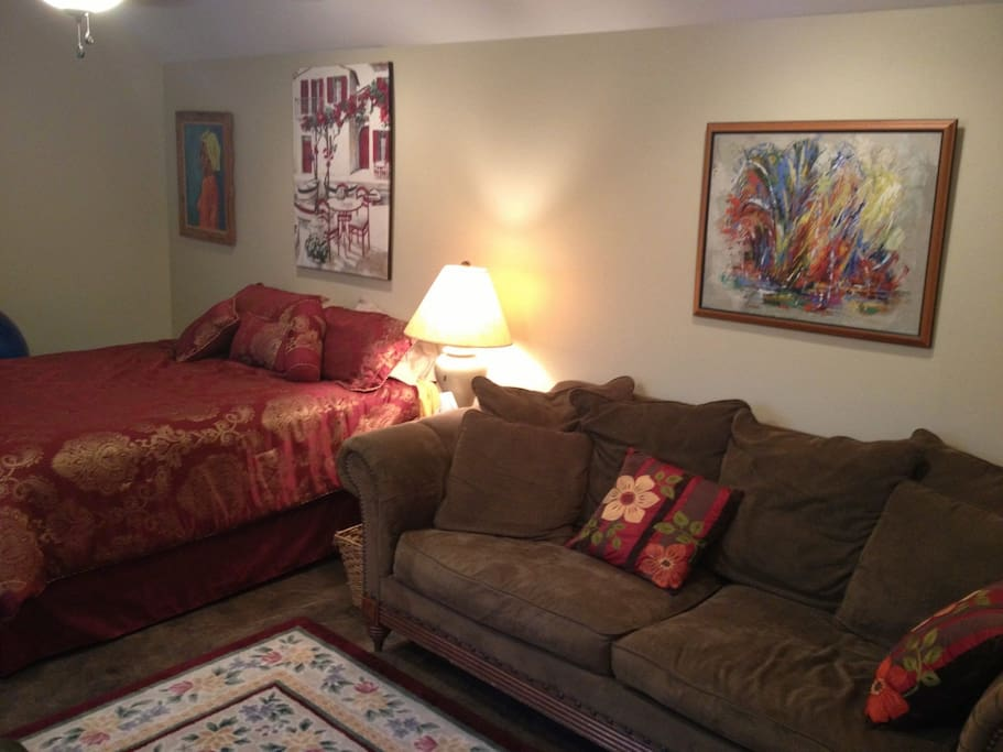 Queen bed with full size couch.