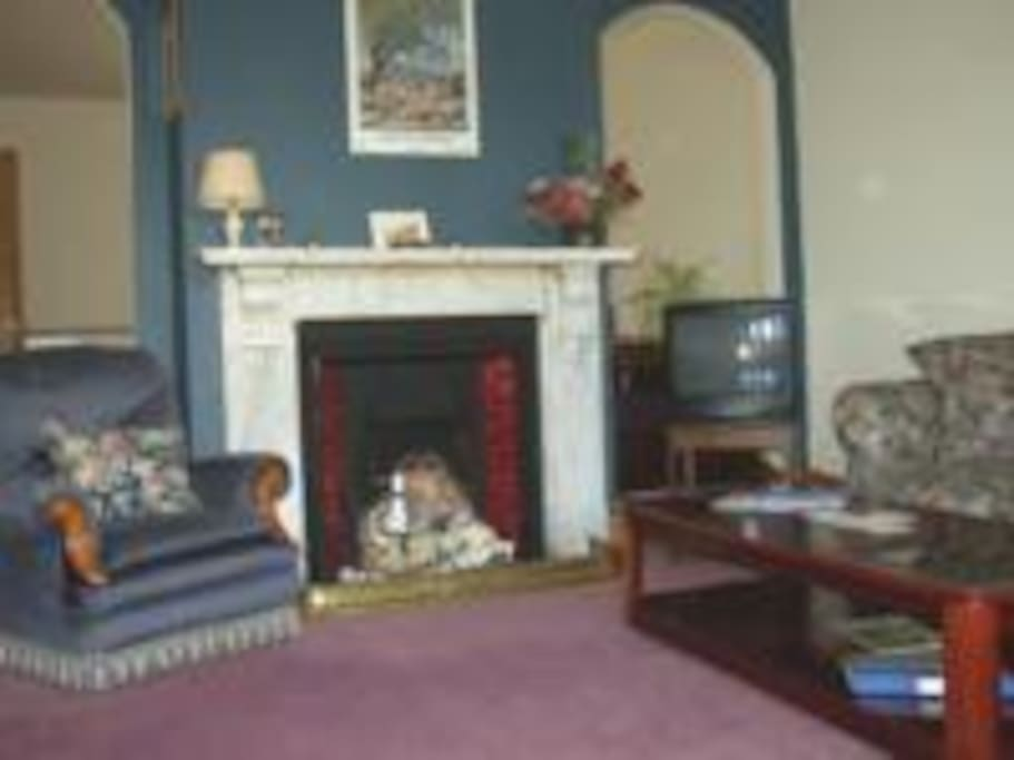 Spacious lounge with open fire for cosy winter days.
