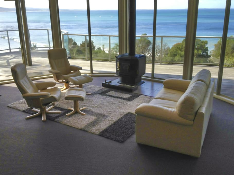 New leather suite to enjoy the fire or beach views.
