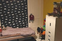 Smallest bed: sleeps a child up to approx 7 years. Large mattras on the floor is available.