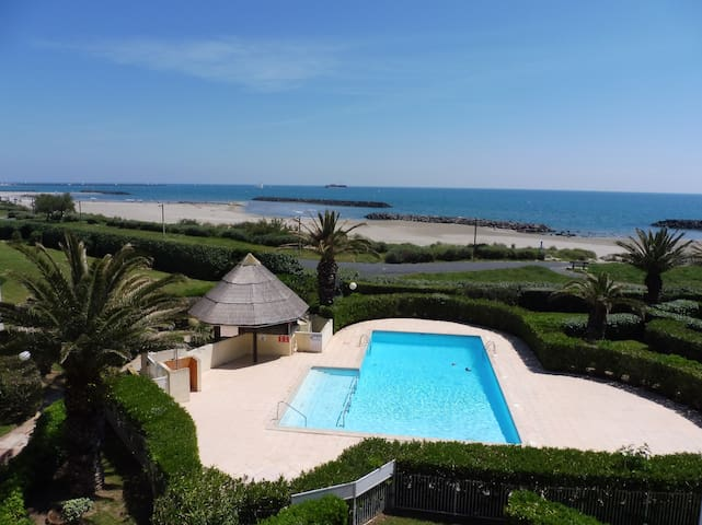 Cap d'Agde, Front de mer, Piscine, 6pers. Parking