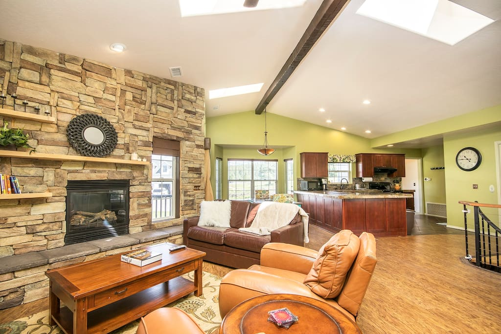 Great Room with Kitchen and Dining Room behind
