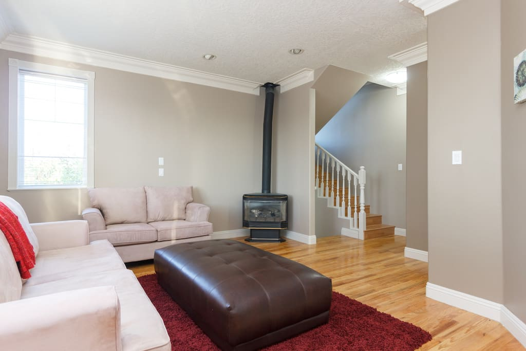 Living room with cozy gas fireplace