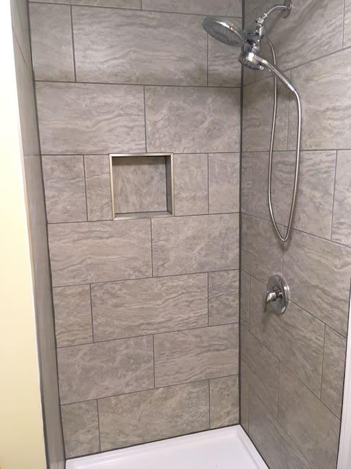 Brand new bathroom (custom glass shower door installed since this picture was taken).