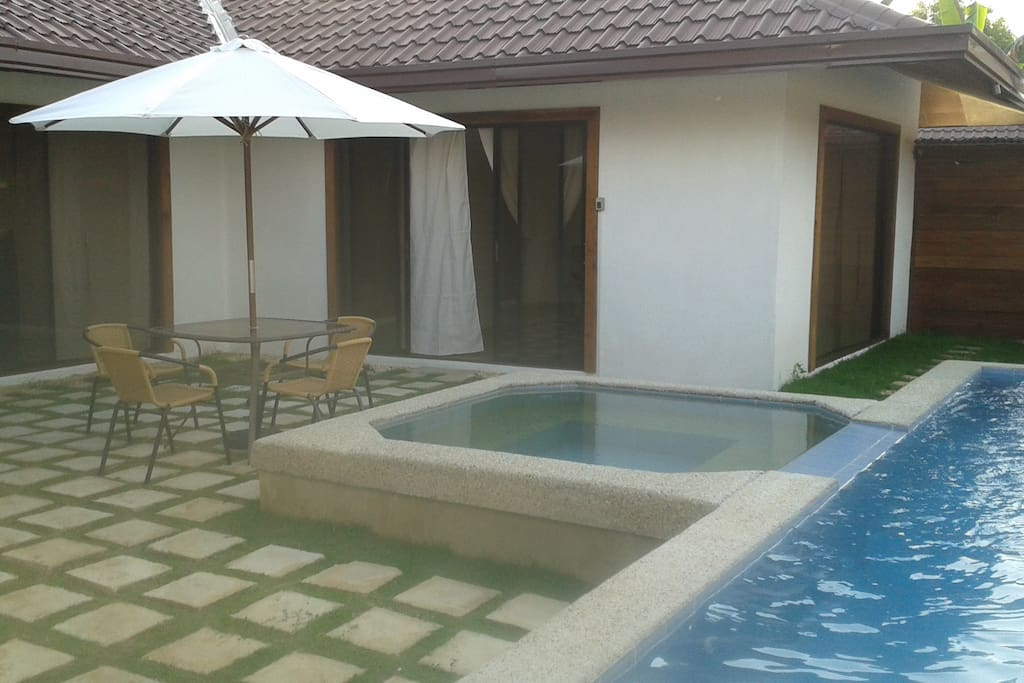 private plunge pool and jacuzzi