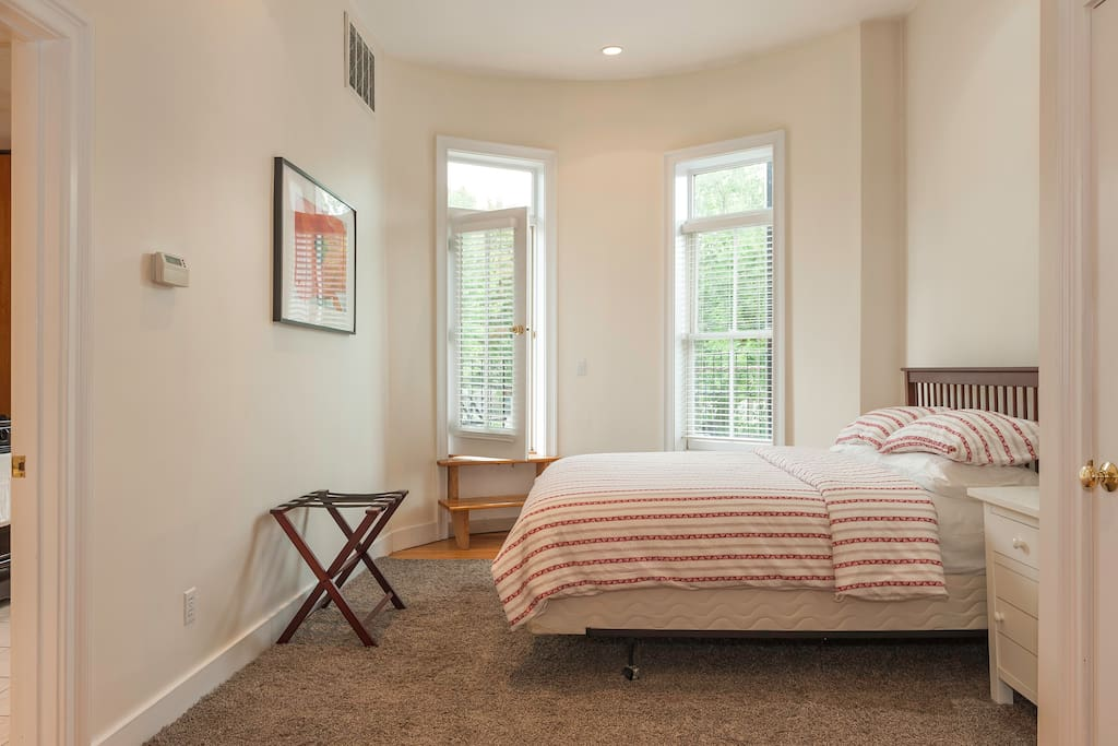 Master bedroom with private rear deck
