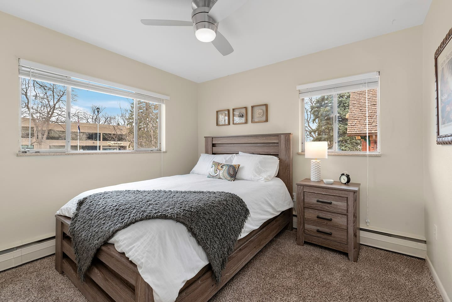 Second level 2bed/2bath condo!  Views of Library Park. Bedrooms have a queen plush mattress,  closet w/hangers, and earplugs for better sleeping.