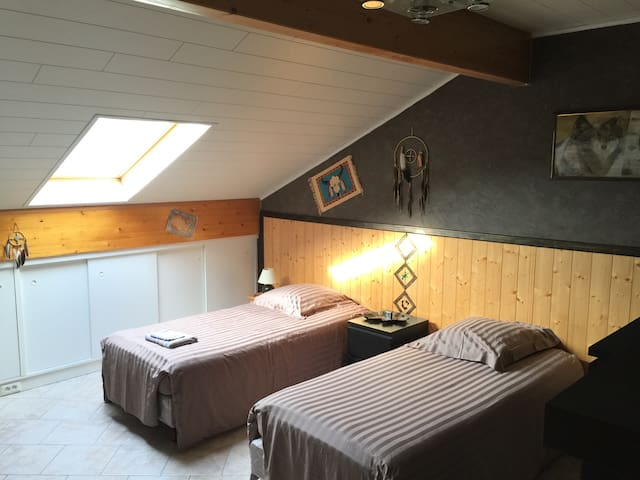 Bedroom with twin beds near Luxembourg - Rochonvillers - Aamiaismajoitus