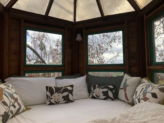 Hexagonal bed in main loft