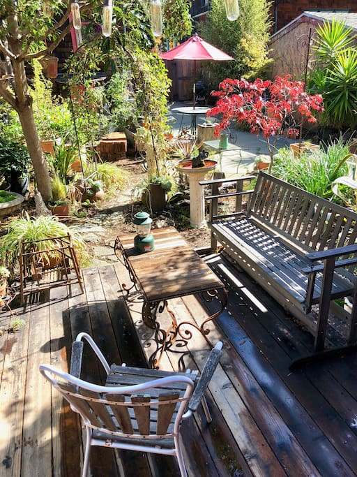 the front deck and garden
