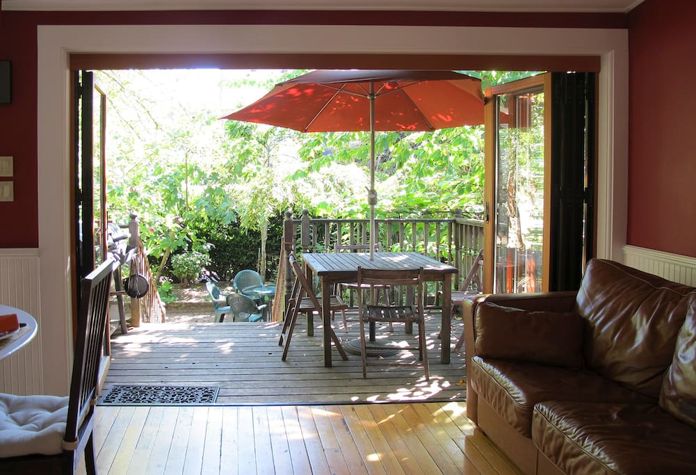 Back of house opens to the deck and garden