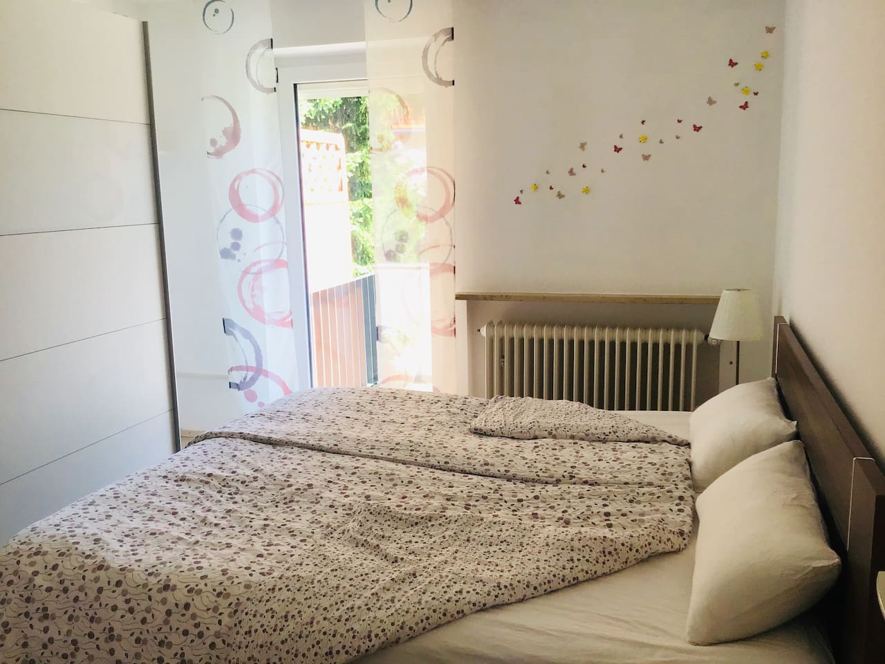 Double room with waterbeds, wardrobe and balcony