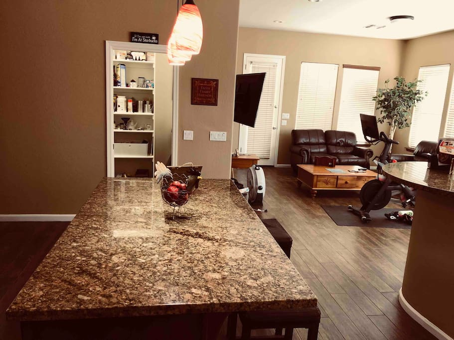 Kitchen area with Gas Stove to cook, Refrigerator to store your food,  Coffee Bar, Pantry to store items, Pots/Pans, Plates, Silverware