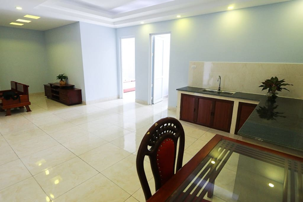 with super big living room and kitchen