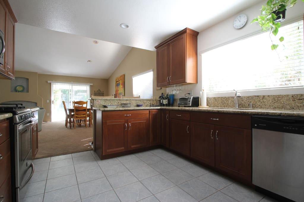 Remodeled kitchen with granite countertops