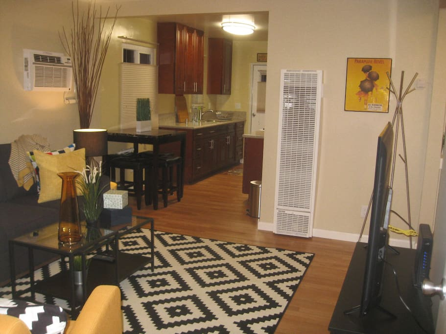 living room into kitchen view