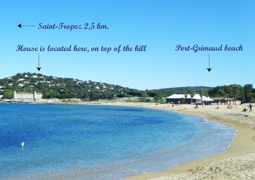 Localisation de la villa à partir du golfe de Saint-Tropez