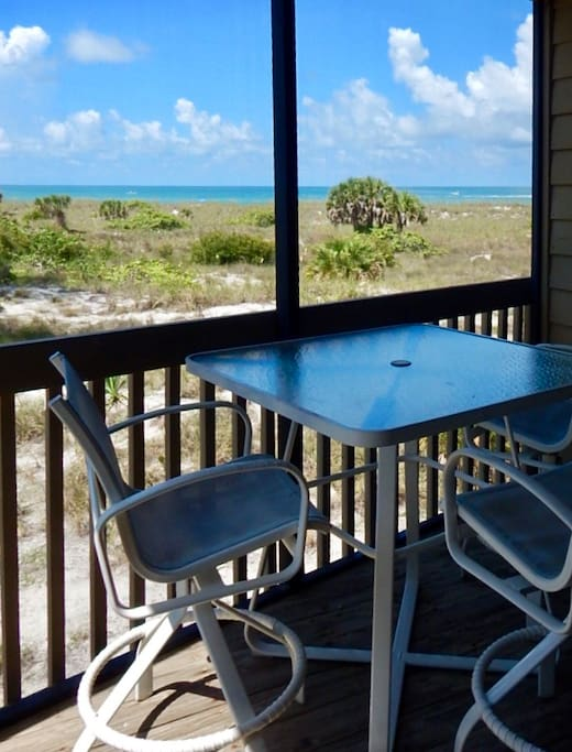 Listen to the Surf and Enjoy the Gulf View from Living Room Patio