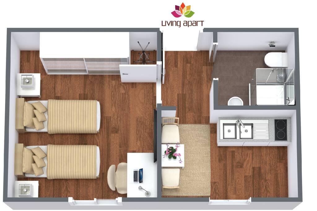 apartment f r 1 2 personen service apartments zur miete in leipzig sachsen deutschland. Black Bedroom Furniture Sets. Home Design Ideas