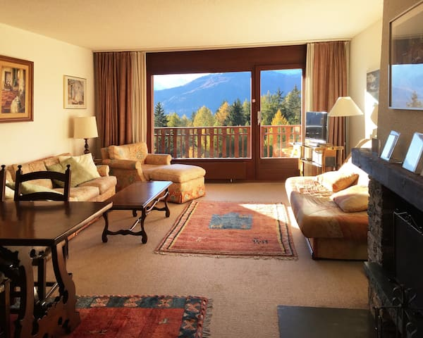 Spacious living room with view.