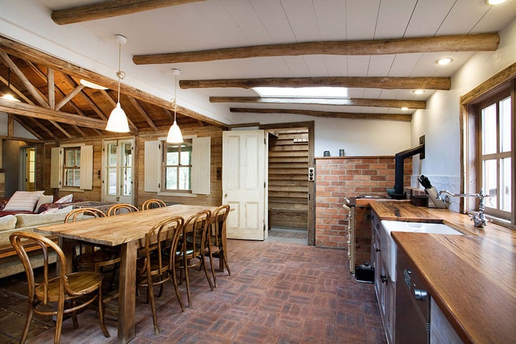 Cooking and Dining Areas feature 90cm Bosch gas stove & electric oven, farmhouse table seating for 8, Espresso machine, kettle, toaster Fridge/freezer full sized, microwave & dishwasher, all kitchen equipment, dining settings, cutlery & glassware