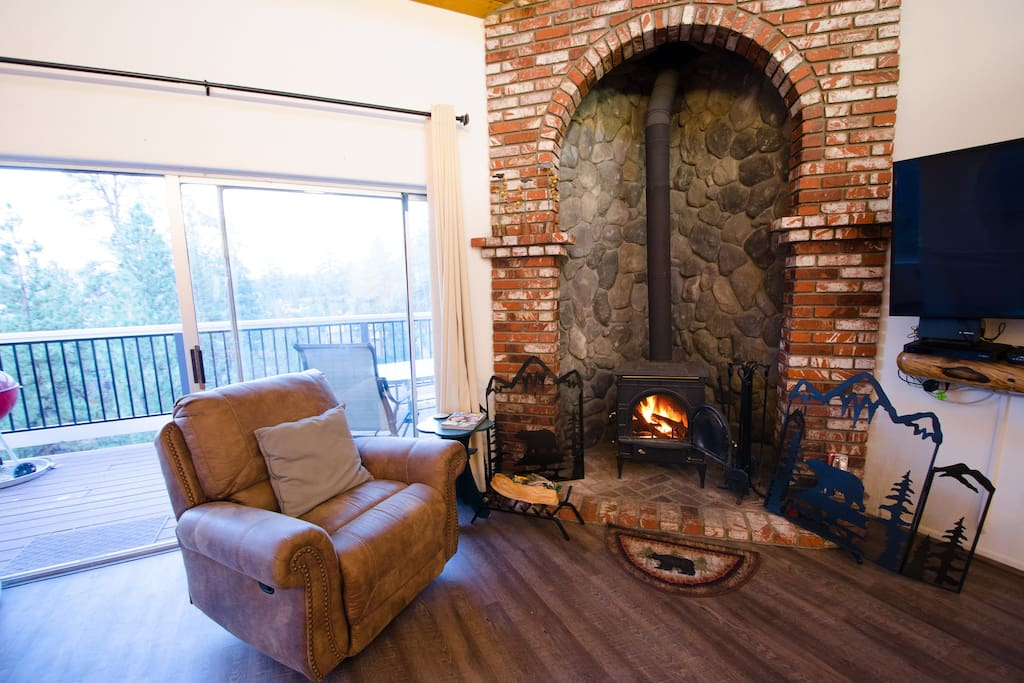 Sit by the amazing fireplace!