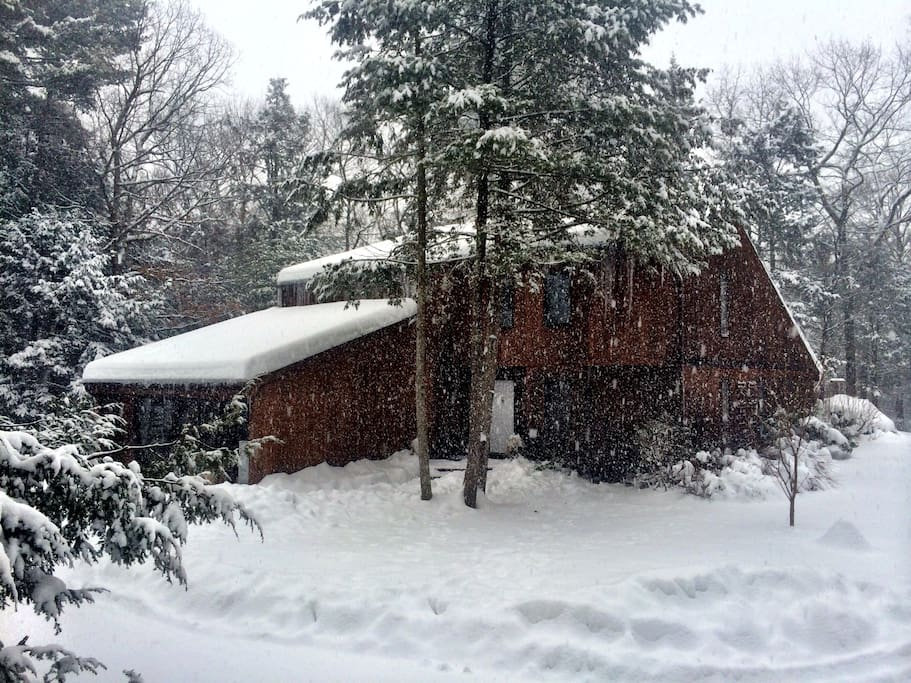 A view of the house from the front following a fresh covering of snow.