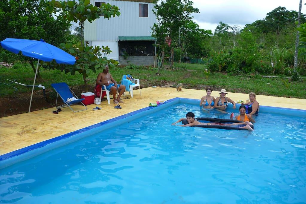 Having fun at the pool.