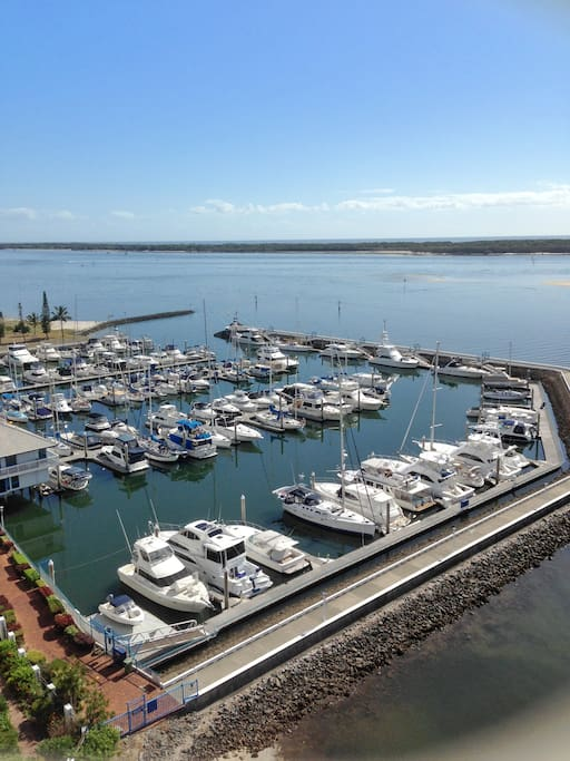 Look out over the Marina to Stradbroke Island
