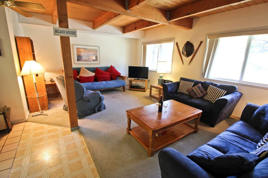 Lower entry level open living room with Cable TV/DVD, CD player, hide-a-bed couch and futon