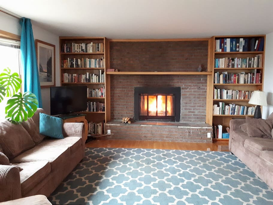 Private living room with wood burning fire place and library