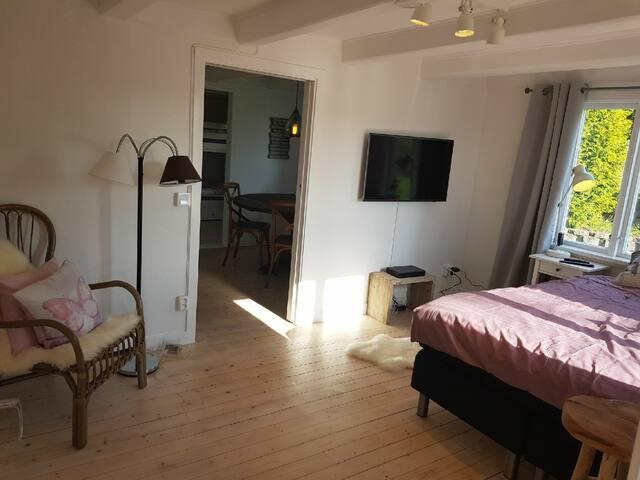 Sovrum med 140cm säng och mindre tv i den äldre delen av huset