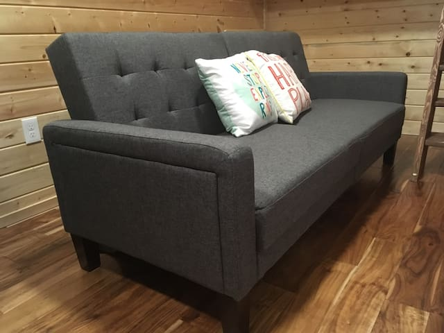We changed the sofa so we could have a futon here. Pretty simple to follow picture instructions. A flat sheet is provided if you want to use this sofa bed.