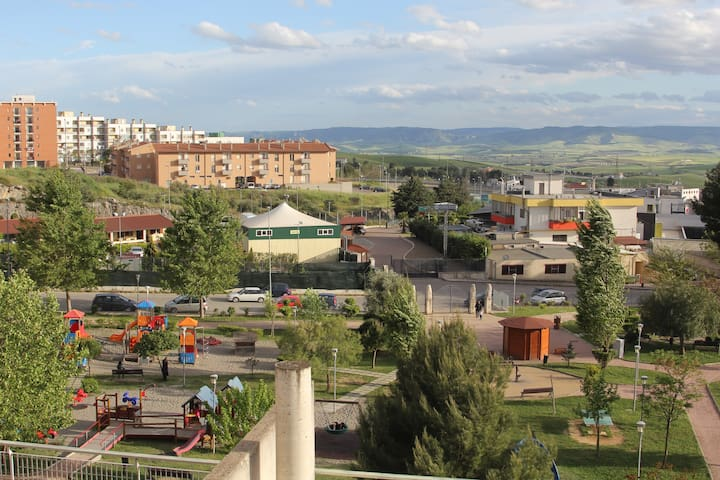 Terrace view on playground