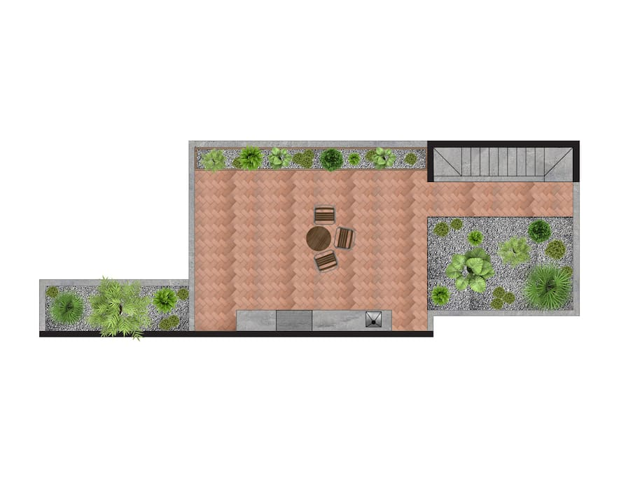 Roof garden with private terrace