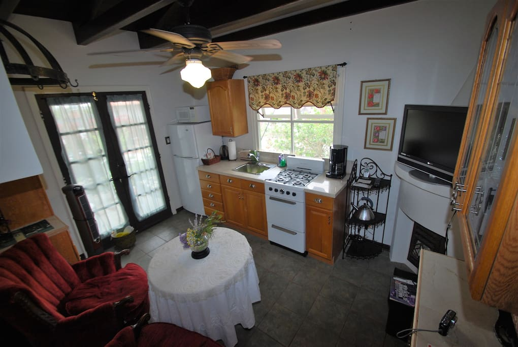 Kitchenette with Double Doors to Private Patio