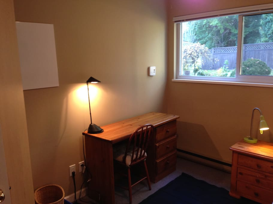Large bedroom window provides lots of light, and view of the forest