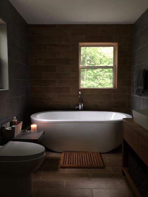 Part of the newly renovated bathroom. Inspired by the stone and wood surrounding Barn Dei Mona.