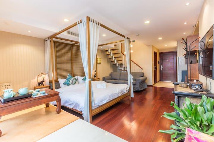 【夏朵公寓·槟榔风情】漫步古街、挪步而达西湖 两房LOFT公寓 - Hangzhou - Serviced apartment