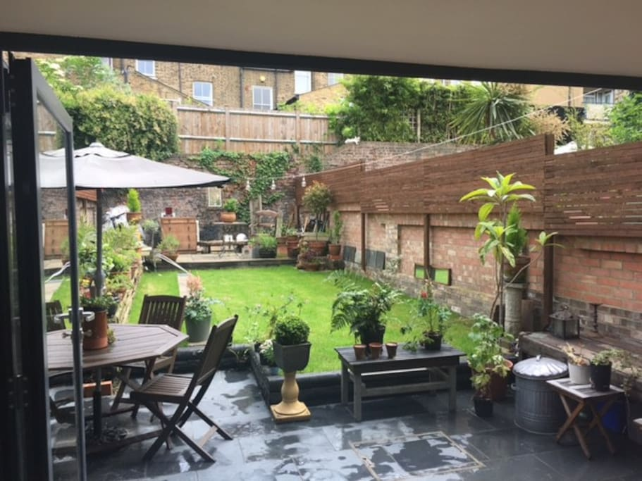 Large private garden with Bifold doors