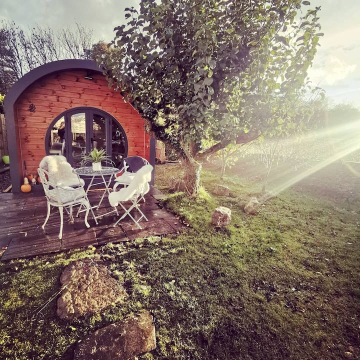 Secluded luxury glamping pod with hot tub.
