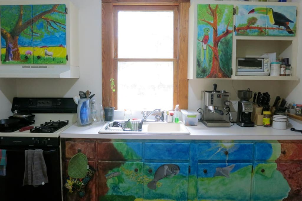 kitchen and my son painted the cabinets.