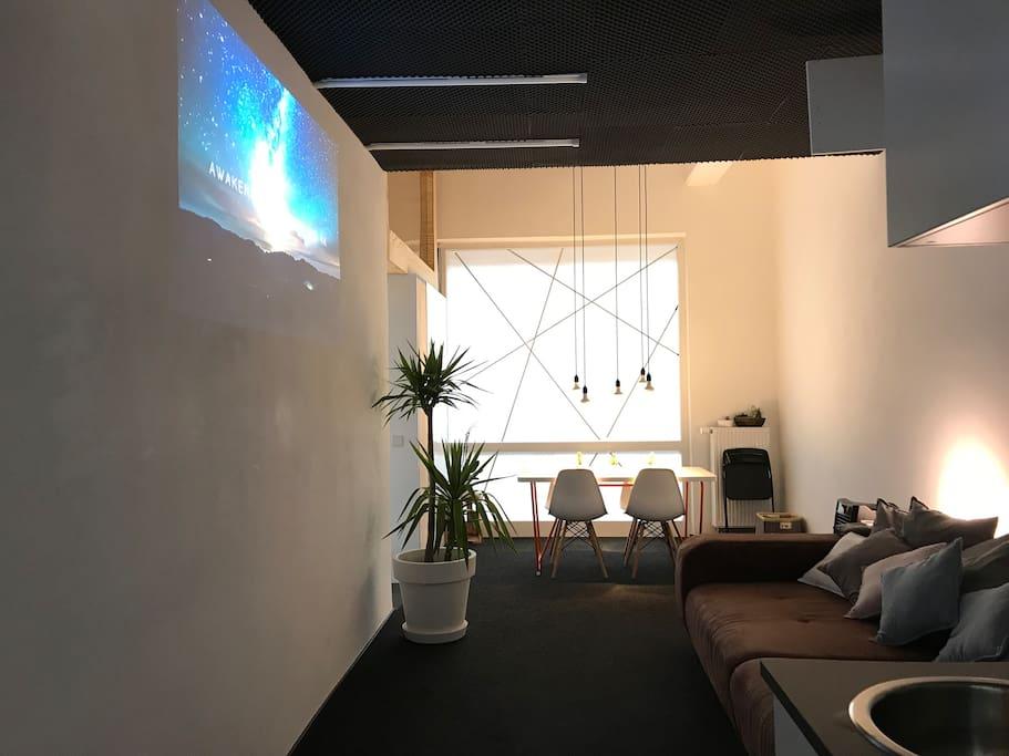 design loft with projector and fast wifi serviced flats for rent in stuttgart baden. Black Bedroom Furniture Sets. Home Design Ideas