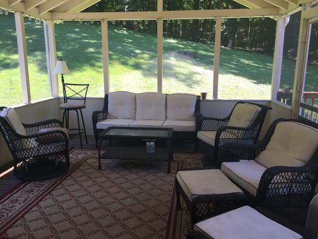 Covered patio to relax on after a day of sightseeing or work.
