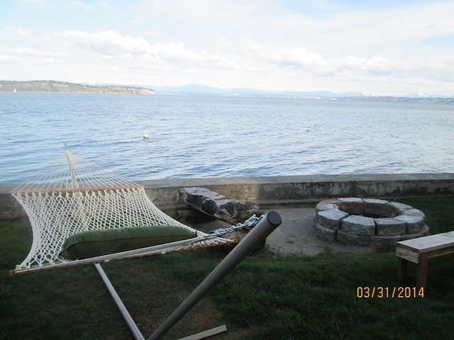Hammock and fire pit in the yard overlooking the beach
