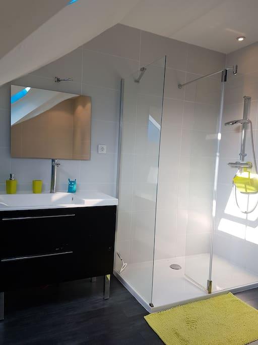 Salle de bain avec lavabo, douche et baignoire